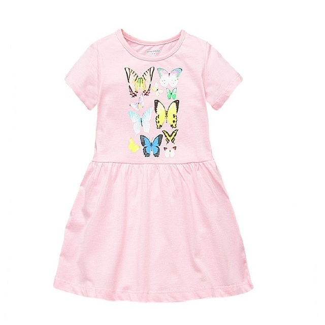 1-6 Years Girls Dress Pink Butterfly Printing Summer Dress 100% Cotton Casual Dresses Kids Clothing KF162