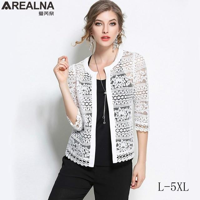 ae7a038b7bdae fall spring Vintage kimono jacket White Lace jacket women Cardigan Black  Crochet Sexy Female Coat casaco feminino Plus Size 5XL