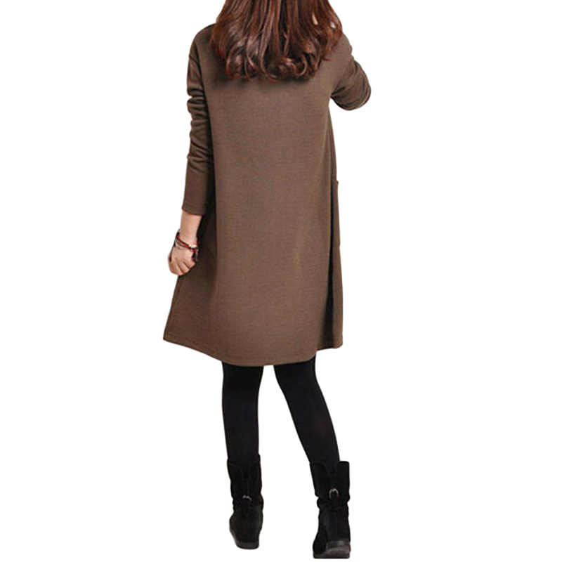 HTB15MWiQpXXXXXMXpXXq6xXFXXX9 - 2018 Autumn Dress Women Winter Long Sleeve Pocket Dress Solid O Neck Casual Loose Party Dresses Fashion Vestidos Plus Size S-5XL
