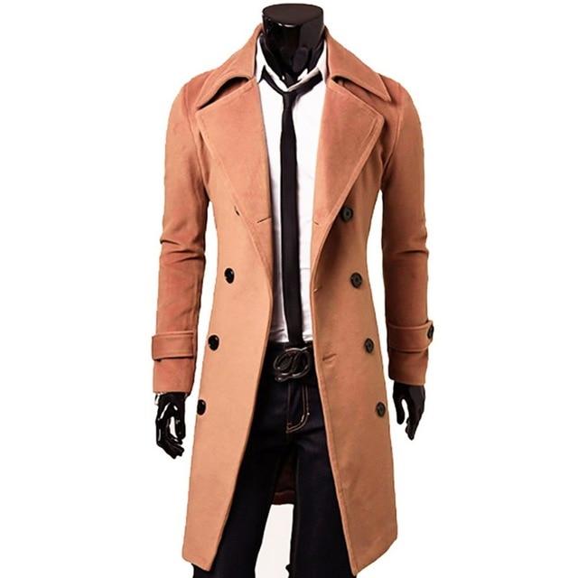 SHUJIN Trench Coat Men Wool...