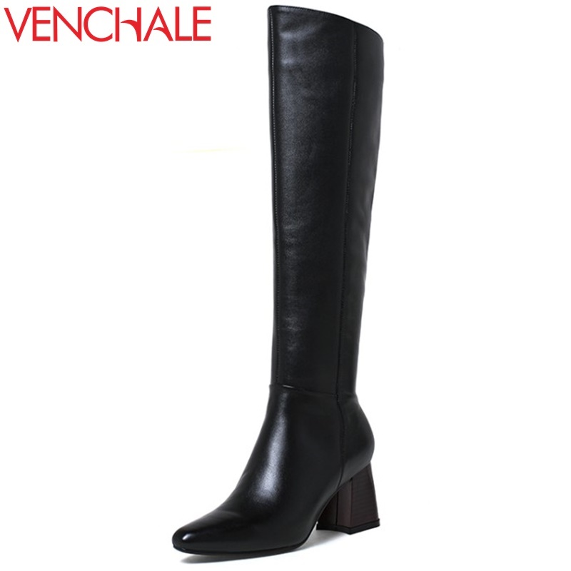 VENCHALE women fashion boots 2017 winter new come genuine leather pointed toe thick heel ladies outside walking party boots lady new arrival superstar genuine leather chelsea boots women round toe solid thick heel runway model nude zipper mid calf boots l63