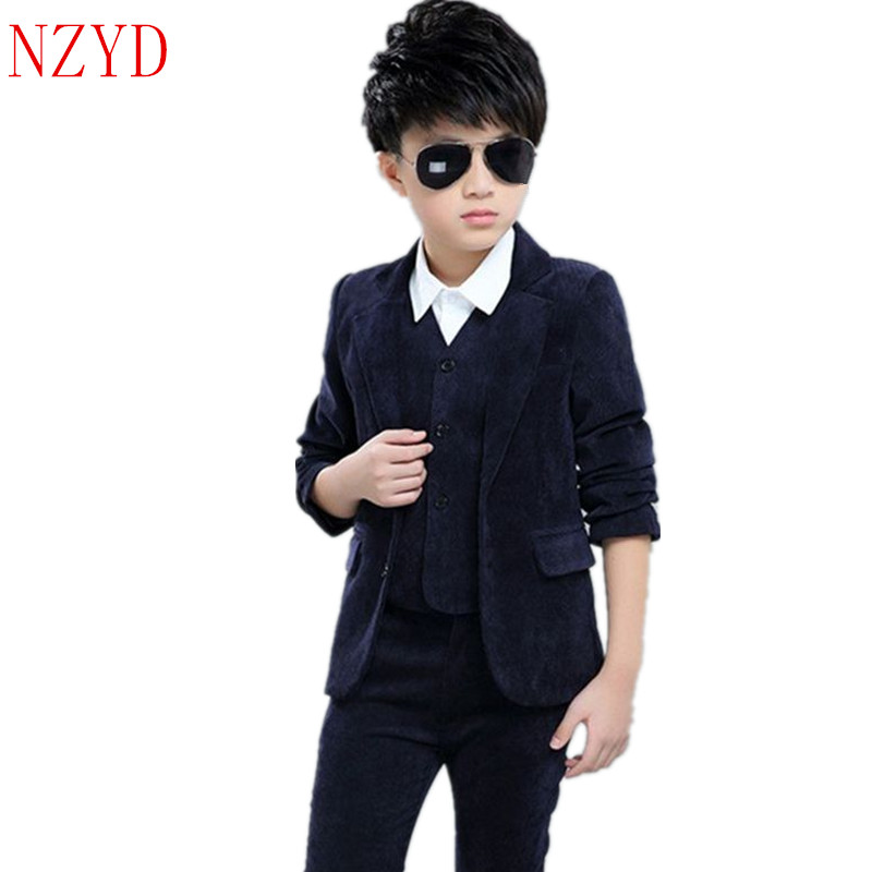 New Fashion Autumn Boy Clothes Long Sleeve Vest Lapel Pants Suit Pure Color Leisure Handsome Children Three-Piece Suit HL0434 2016 new fashion autumn winter boy two pieces suit thicken children tops pants suit leisure hooded kids clothes hl0856