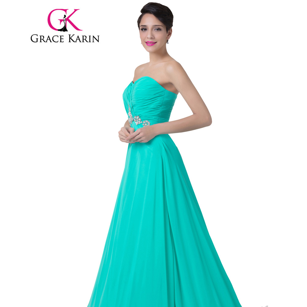 Aliexpress.com : Buy Grace Karin Turquoise Evening Dress Strapless ...