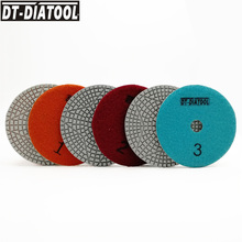 DT-DIATOOL 2sets/6pcs Dia 100mm/4 3 Steps Wet Diamond Polishing Pads Resin Bond Sanding Discs For Marble Quartz Concrete dt diatool 100mm 4 3 steps wet or dry premium high quality diamond polishing pads resin bond sanding discs for marble concrete