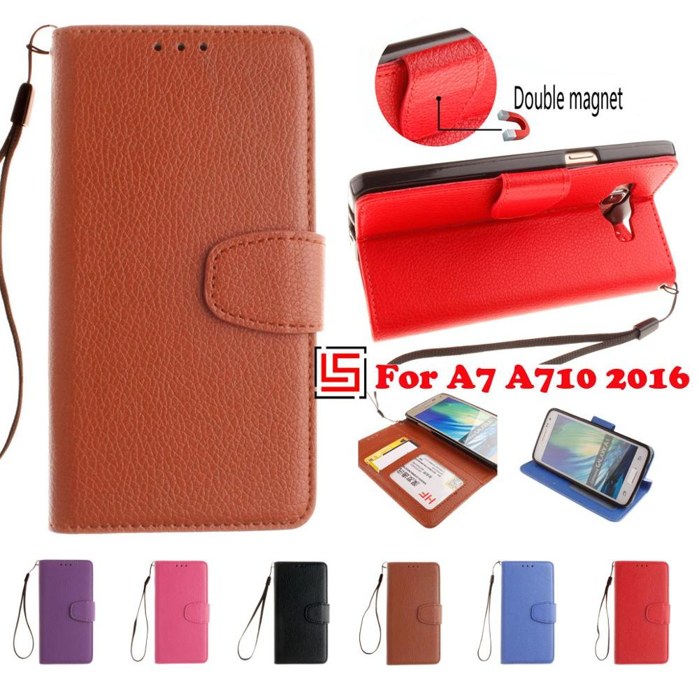 Retro New PU Leather Leathe Lather Flip Book Wallet Walet Phone Case kryty Cover For Samsung Galaxy A7 2016 A710F A 7 Brown