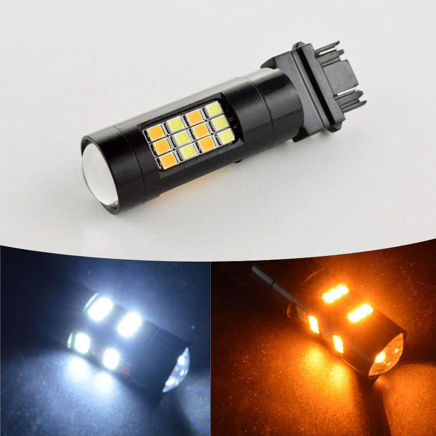 1pc 4W T25 3157 2835 42SMD Car LED Dual Color High Power Amber/White Switchback Lens With Lens DRL Parking Bulbs Lamp