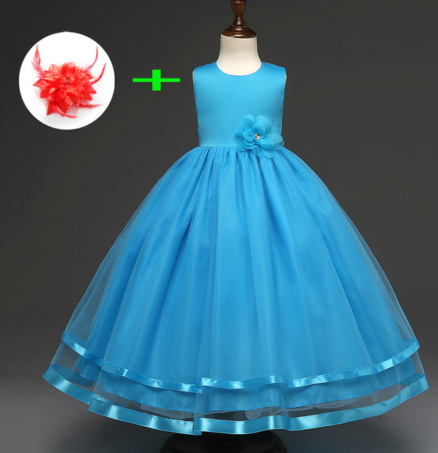 White Blue Pink Princess Birthday Ball Gown Wedding Dresses Children  Turquoise Kids Dress Children Party Dresses