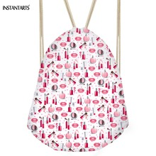 INSTANTARTS Lipstick Prints Women Drawstring Bag Mini Fashion Students Cinch Sack Fitness Super Light Storage Travel Backpack