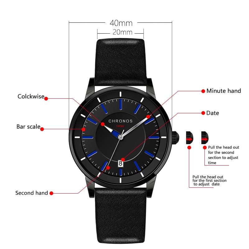Reloj de los hombres de cuero genuino impermeable reloj de pulsera de - Relojes para hombres - foto 4