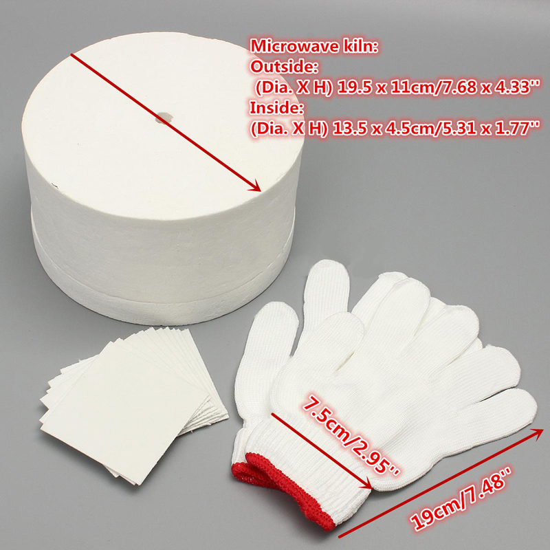 1pcs Ceramic Fiber Large Microwave Kiln Glass+10 Pack Backing Fusing Papers +Pair White Cotton Gloves set For Household Tools