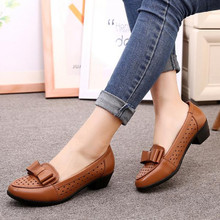 summer Women Shoes Genuine Leather soft bottom Flat with casual shoes Flats elderly shoes Anti-skid Slip-On sandals