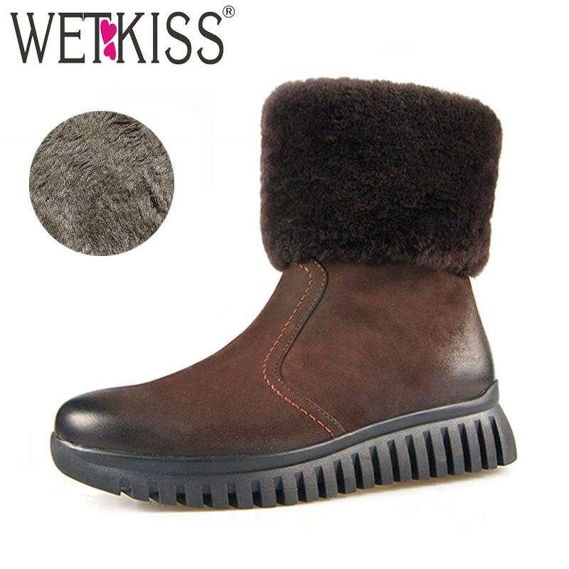 WETKISS Genuine Leather Women Boots Round Toe Zip Fur Wool Liner Footwear Warm Female Snow Boot Platform Shoes Woman 2018 Winter цена