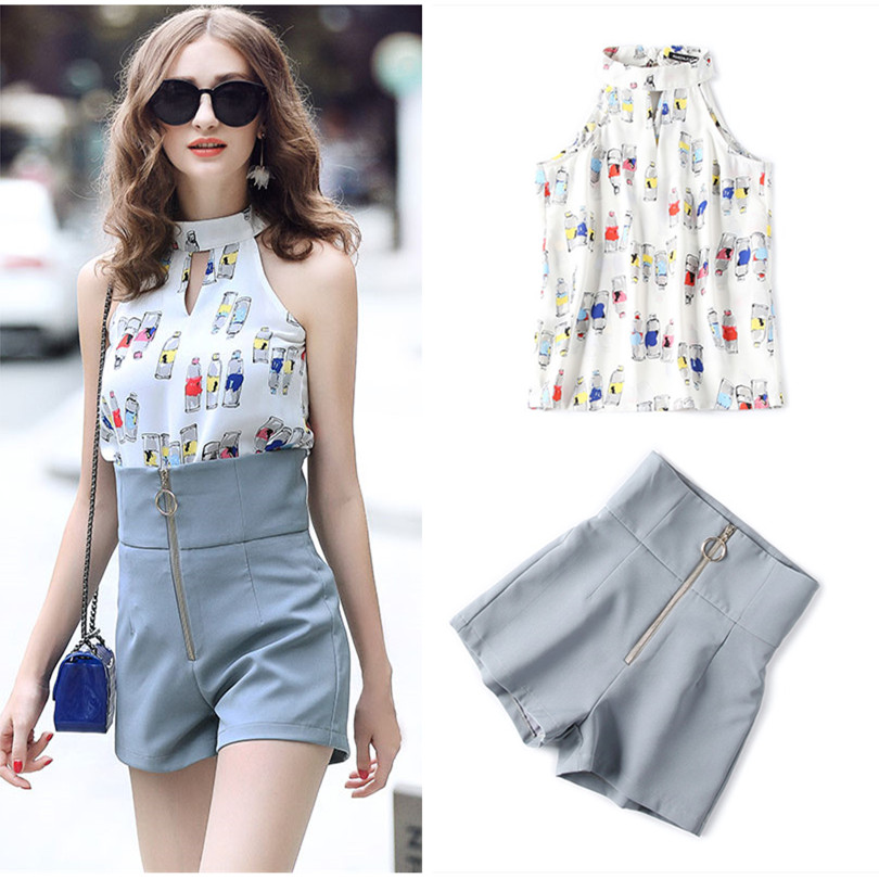 Beautiful Women Summer Shorts Suit 2018 Print Bows Halter Neck Sleeveless Tops Blouse and Empire Slim Short Pants Suit NS651