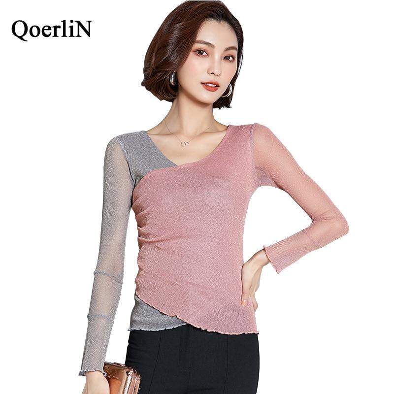 QoerliN M-XXXL Lurex Pink Pullover Criss-Cross Jumper Poncho Winter Woman Sweater Knitting Pullovers Patchwork Autumn Top Girl