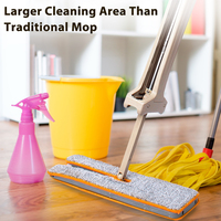 Double Sided Floor Cleaning Mops Self Wringing Flat Mop Tool Kitchen Living Room 360 Rotating Head Household Dust Cloth Mop Set