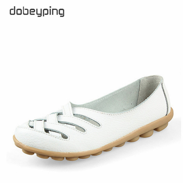 New Women's Casual Shoes Genuine Leather Woman Loafers Slip On Female Flats Leisure Ladies Driving Shoe Solid Mother Boat Shoes 4