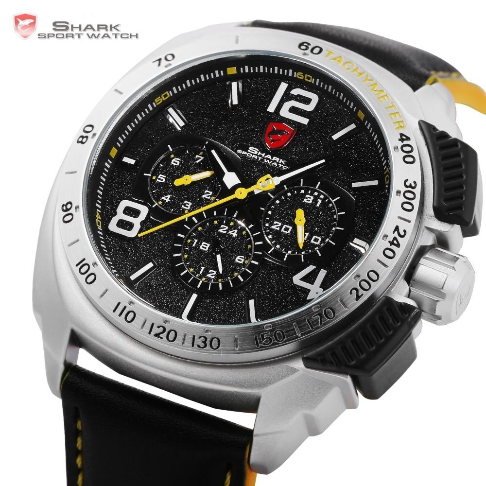 Luxury Leather Box Tiger Shark Sport Watch Date 24Hr Function Quartz Movement 1