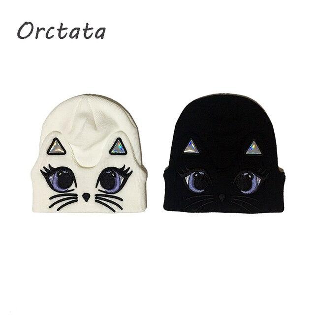 אופנה נשים החורף לסרוג בימס כובעים חמוד בעלי חיים כותנה חם גולגולת כובעי אביב סתיו מוצק סרוג Skullies כובע לנקבה