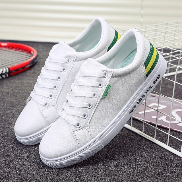 b3972aa6d العلامة التجارية جديد طالب أحذية رياضية جلدية الاتجاه حذاء رجالي تنفس الركض  شقة حذاء أبيض الرجال