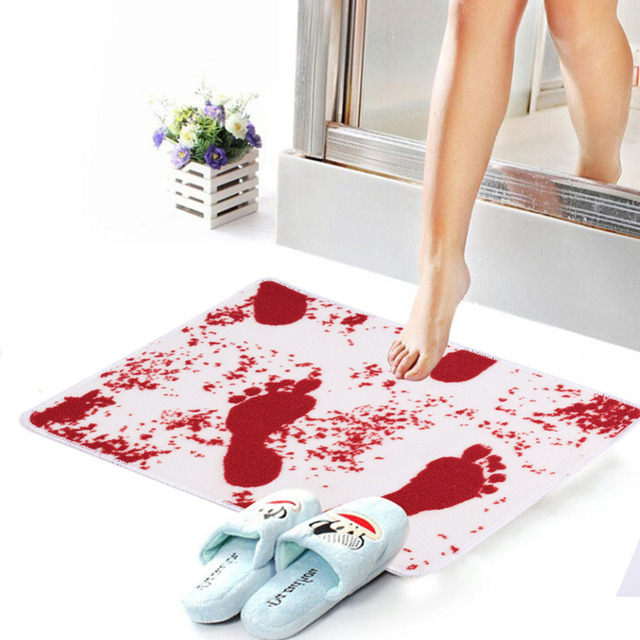 Novelty Blood Bath Mat Bathroom Water Absorption Non Slip Rug Carpet Floor Mats Horrific