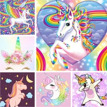 Full Drill Square 5d Diamond Painting Unicorn Cartoon Embroidery Love Rainbow Wing Rhinestone Home Decor Kids Gift A9