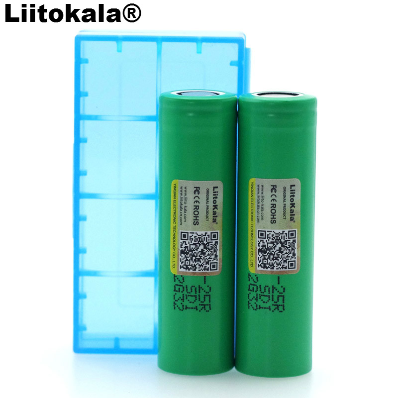 2PCS <font><b>Liitokala</b></font> New <font><b>18650</b></font> 2500mAh Rechargeable battery 3.6V INR18650 <font><b>25R</b></font> 20A discharge batteries + Storage box image