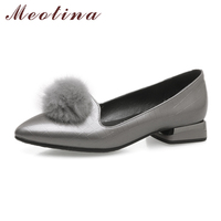 Meotina Shoes Women Flats Real Rabbit Fur 2018 Shoes Spring Pointed Toe Slip On Boat Shoes