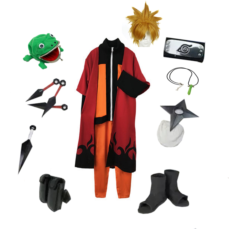 Brdwn Naruto Unisex Uzumaki Naruto Ninja Cosplay Costume (coat+pants+cloak+Headband+Shoes+Kunai+bag+shuriken+necklace)