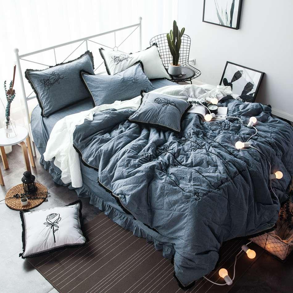 rose embroidered blue bedding set black tassel decor bedding sets king size queen size duvet cover