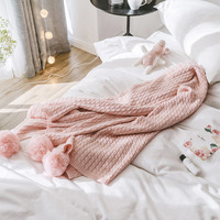 Bed Blanket Sofa Slipcover pink knit throws cotton microfiber decorative for Sofa/Bed/Plane/office travel winter knitted blanket