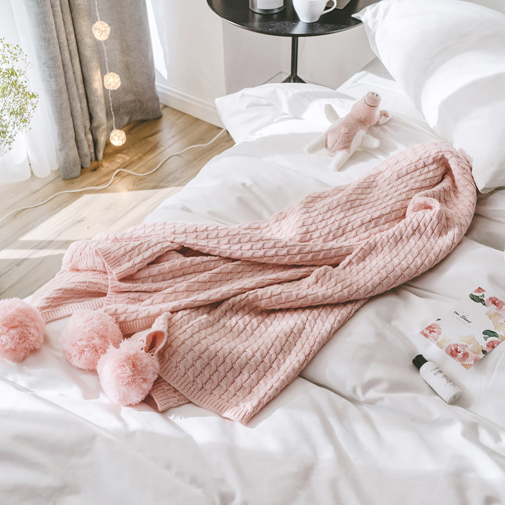 Sofa Throws Knitted Us 39 99 20 Off Bed Blanket Sofa Slipcover Pink Knit Throws Cotton Microfiber Decorative For Sofa Bed Plane Office Travel Winter Knitted Blanket In