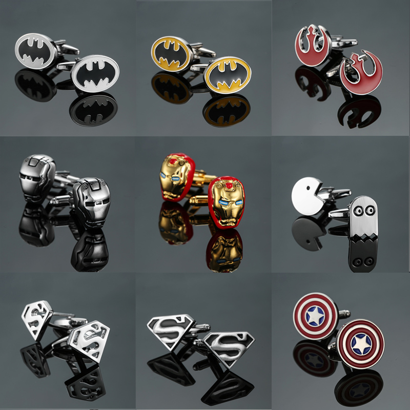 Free Delivery, High Quality Men's Shirts Fashion Brands Jewelry Cuff Buttons Super Hero Captain America Batman Cuff Links(China)
