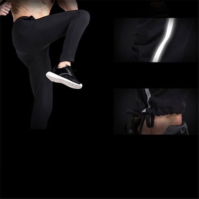 Men Running Pants Gym Fitness Sports Legging Jogger Basketball Training Workout Running Trousers Sportswear Reflective  3