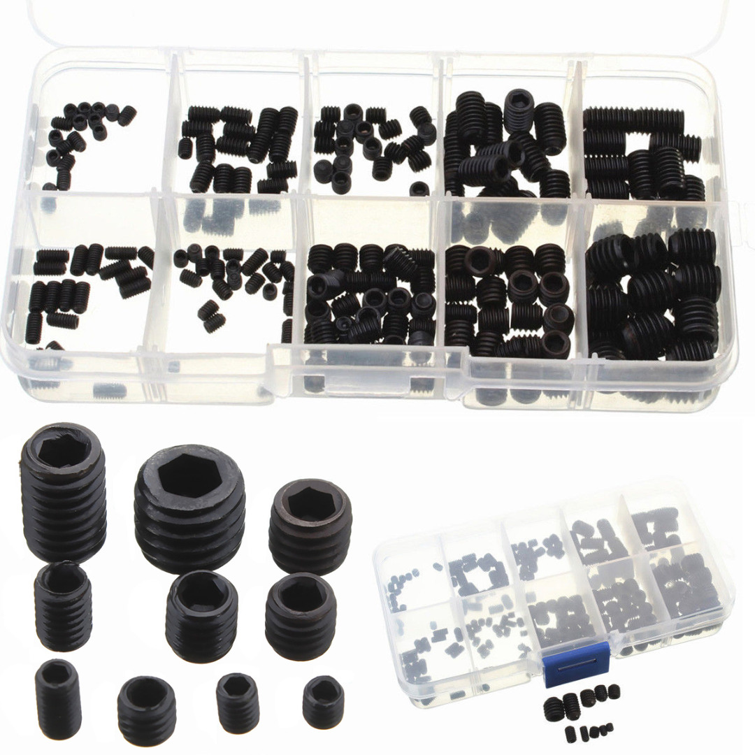 200pcs Black Allen Head Socket Hex Set Grub Screws Cup Point Assortment Kit with Box For Home Tools itech lk 208l brown коричневый