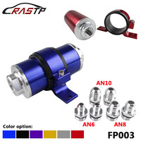 RASTP Car Racing Aluminum Fuel Filter 100 Micron Element With Fittings AN6 AN8 AN10 Adaptor+Bracket RS FP003