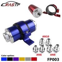 Rastp-carro de corrida de alumínio filtro de combustível 100 mícrons elemento com acessórios an6 an8 an10 adaptador + suporte RS-FP003