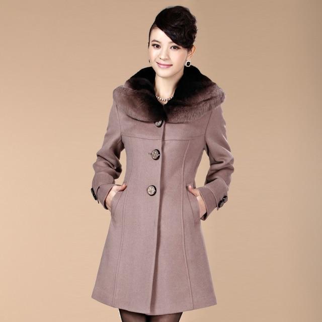 Free shipping 2013 new fashion winter  women's rex rabbit hair cashmere overcoat plus size woolen outerwear