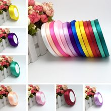 "15 Colors Solid Color 1 roll 25 yard 1/4""(6mm) single face satin ribbon,25yards/roll option Color gift packing Wedding decor(China)"