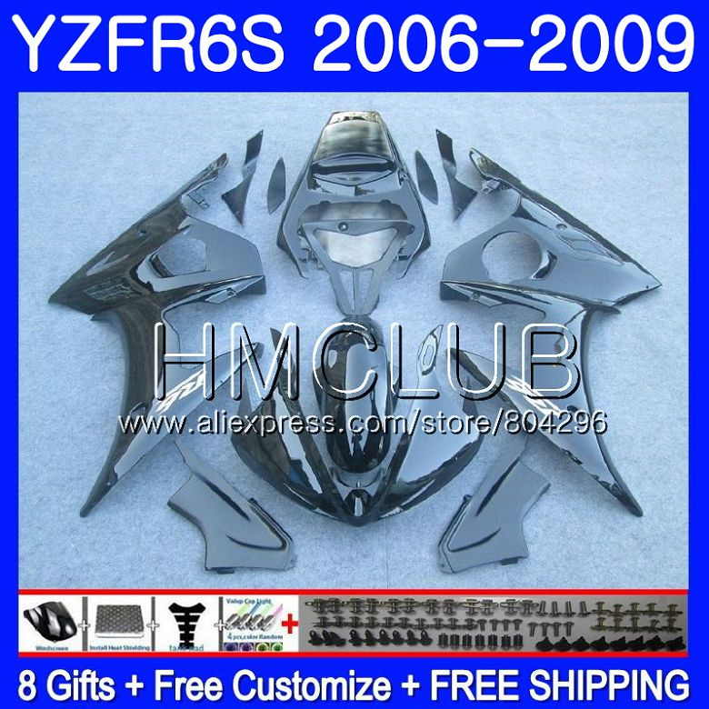 Corps noir Brillant Pour YAMAHA YZF R6 S YZF600 YZFR6S 06 07 08 09 114HM. 12 YZF-600 YZF-R6S YZF R6S 2006 2007 2008 2009 Kit de carénage