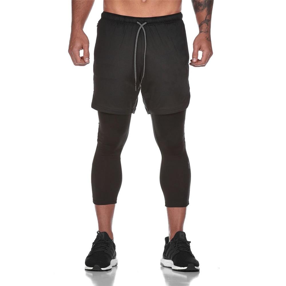 Joggers Sweatpants Mens 2 In 1 Skinny Pants Short Leggings Double Layer Sportswear Male Gyms Fitness Built-in Pocket Track Pants