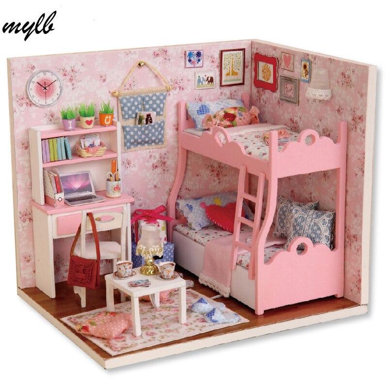 Падение доставка кукольный дом Мебель Miniatura DIY Кукольные домики миниатюрный кукольный домик деревянный Игрушечные лошадки для детей Взросл...