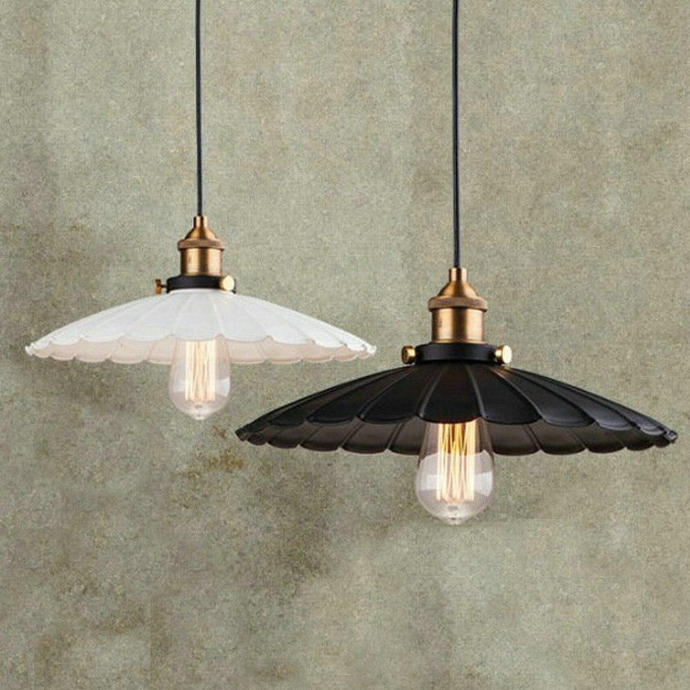 E27 fer peint rétro vintage suspension lumière blanc/noir couleur D25, 36,42 cm campagne Antique lampe suspension la forme de lotus