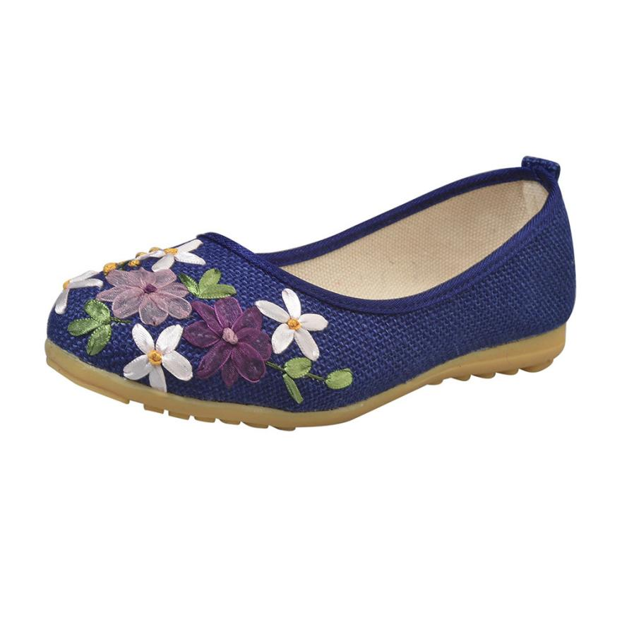 Fashion Women Flat shoes Embroidered Flats Comfortable Women's Hemp Shoes Round Toe Solid Casual Casual Flat with Shoes fashion summer gladiator women flat fashion shoes casual occasions comfortable sandals round toe casual peep toe flat shoes s
