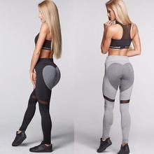 new Quick Drying yoga pants high waist Love mesh stitching sports leggings  2019