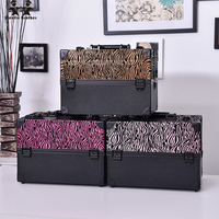 Wenjie Brother Big Size Leopard Print ABS PU Make Up Box Makeup Case Beauty Case Cosmetic