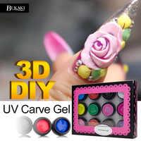 BUKAKI 12 Farben 3D Geschnitzte Muster Acryl Nägel Farbe Gel Nail art DIY UV Gel Maniküre Malerei Spitze Nagel Kleber