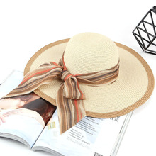 Nuevo Producto borde grande sombreros de sol arco cintas sombreros de paja  para las mujeres sombrero de verano Playa Sol sombrer. 5919176a5be