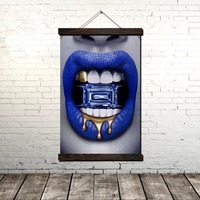 Blue Gem Lips Scroll Painting Canvas Vintage Poster and Prints Wall Art Pictures Living Room Bedroom Decoration