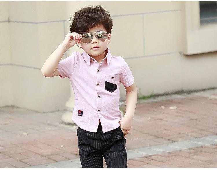 f0123c425c22 HTB15M ykhGYBuNjy0Fnq6x5lpXa8 - School Boy Summer Clothing Set 2018 Boys  Clothes Kids Short Sleeves Shirt+ Stripe