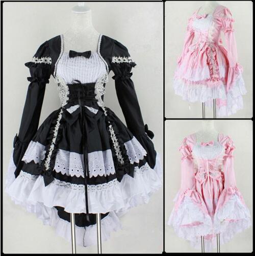 Disfraz de Halloween Para Las Mujeres Sexy Girls Dulce Lolita Gótica Vestido Sissy Maid Uniforme de Anime Cosplay Traje de la Criada